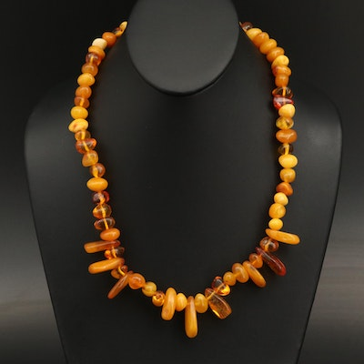 Amber Beaded Necklace with Various Shapes