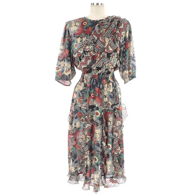 Mayeelok Floral Printed Gathered Dress Embellished with Ruffles