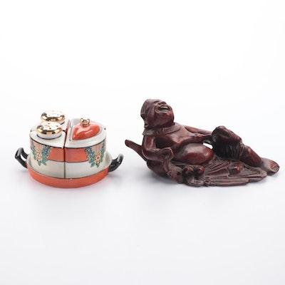 Hand-Painted Porcelain Salt, Pepper, Sugar Set and Asian Carved Hardwood Figure