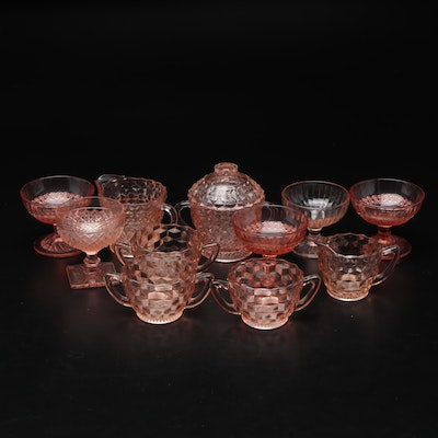 """Fostoria """"American"""" and Other Pink Glass Tableware, Mid-20th Century"""