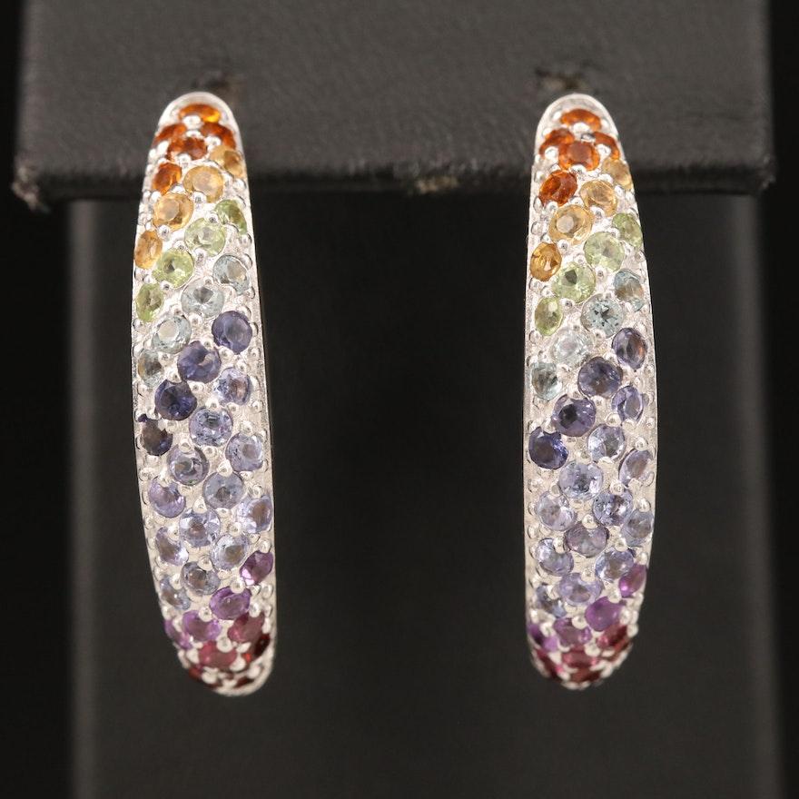 Sterling Hoop Earrings with Amethyst, Iolite and Citrine