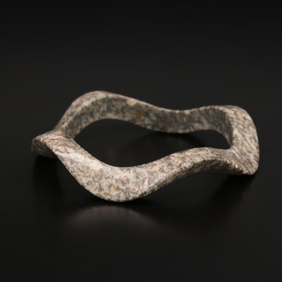 Scalloped Hololith Marble Bangle