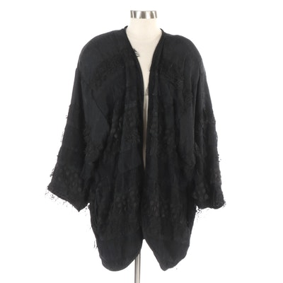 Signature Sweats  Duster in Black Jacquard with Tiered Lace