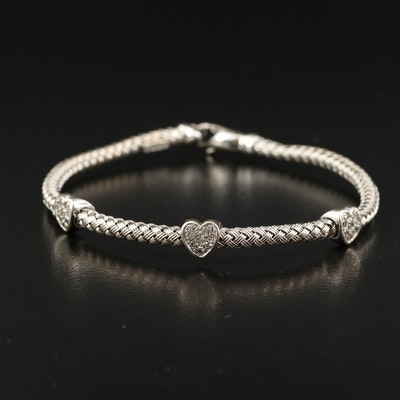 Italian 14K Diamond Woven Heart Bracelet