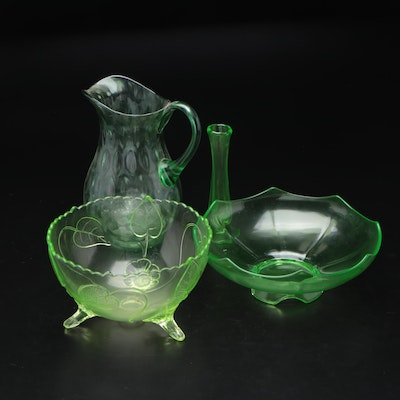 Green Depression Glass Pitcher, Vase, and Serving Bowls, Mid-20th Century