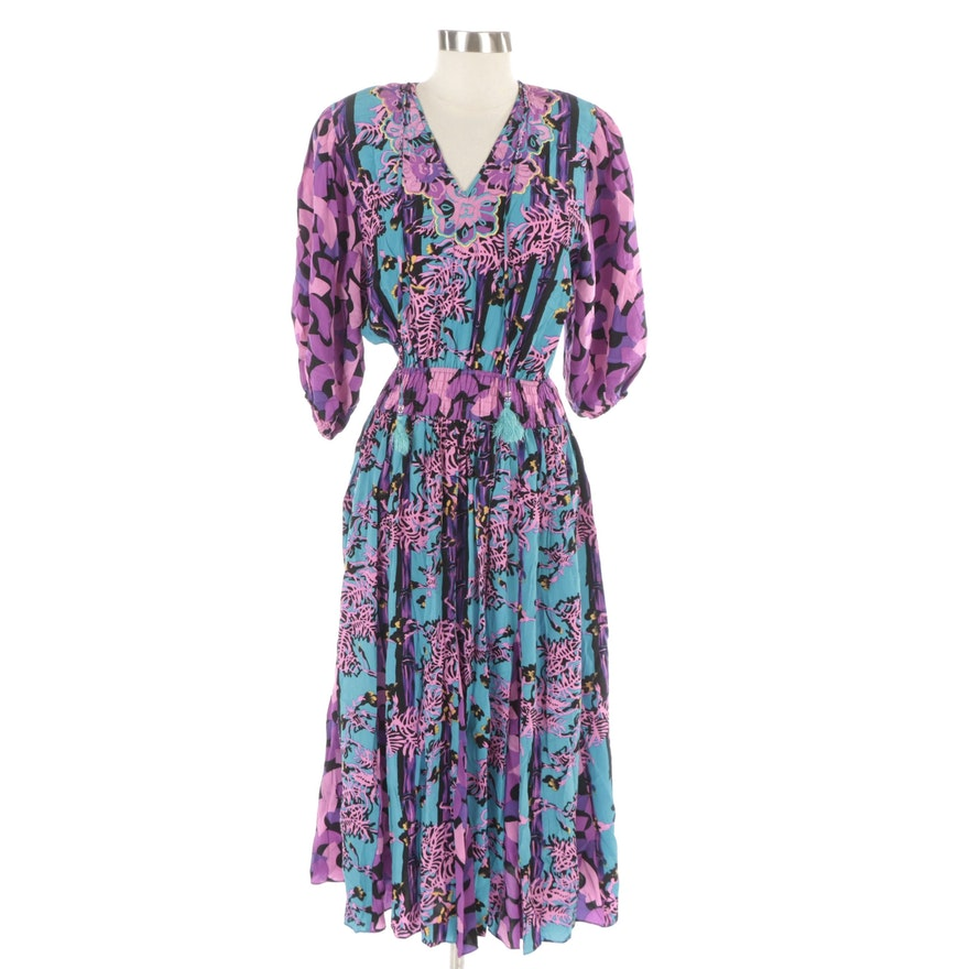 Diane Freis Silk Midi Dress in Embroidered Tropical and Aquatic Print