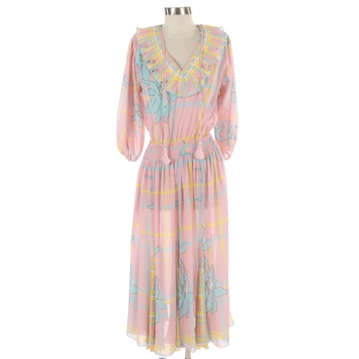 Diane Freis Large Print Gathered Dress with Pleated Accents
