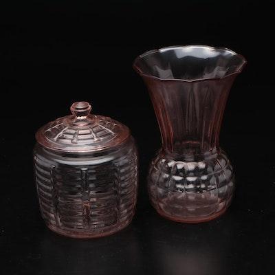 Pink Depression Glass Vase and Lidded Jar