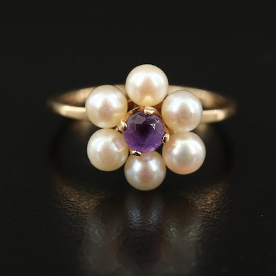 14K Amethyst and Pearl Ring