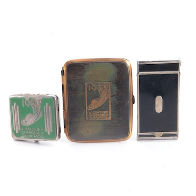 Chicago World's Fair Metal Cigarette and Compact Cases