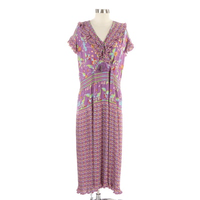 Diane Freis Floral Dress with Pleated Ruffle Trim