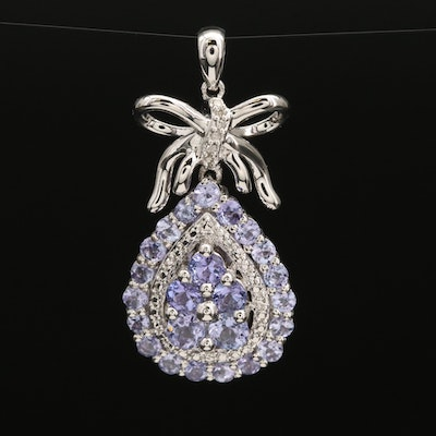 Tanzanite and Diamond Pendant with Bow Accent