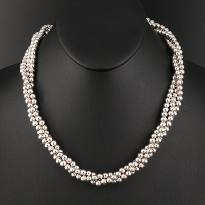 Sterling Silver Multi-Strand Bead Necklace