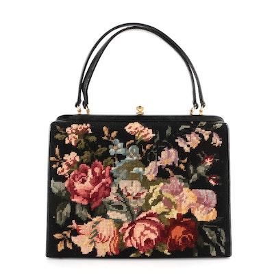 Floral Needlepoint Frame Top Handle Bag