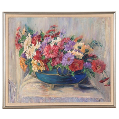 Lillie Fry Fisher Still Life Oil Painting of Flowers, Early 20th Century
