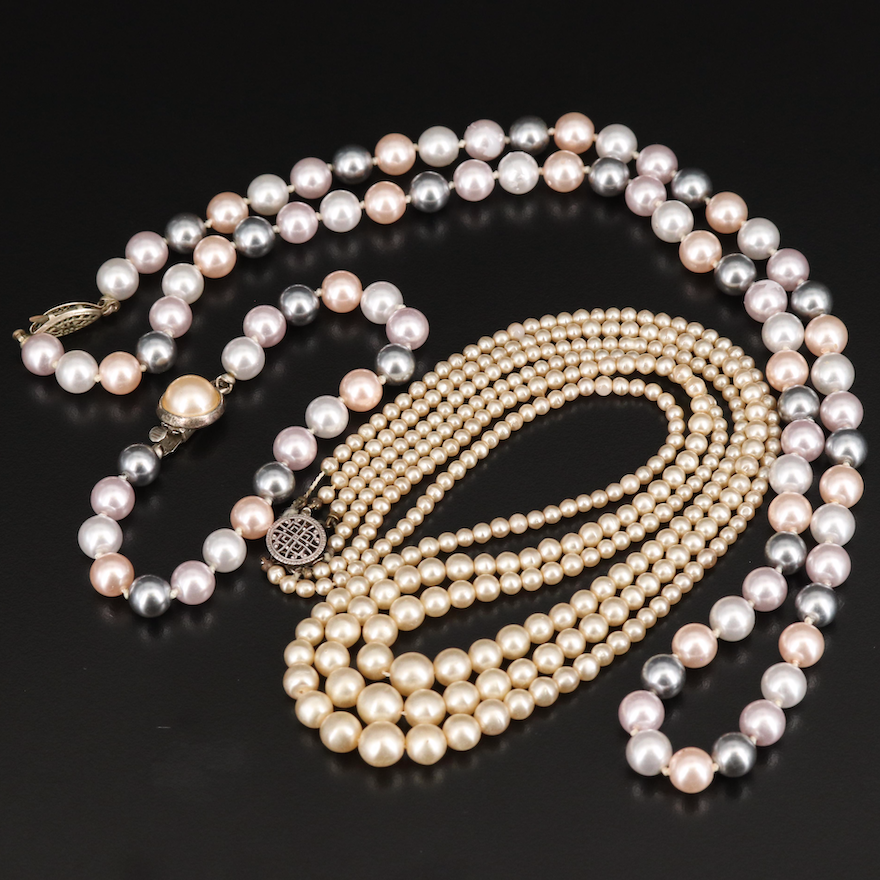 Faux Pearl Graduated Triple-Strand and Tri-Color Necklaces and Bracelet