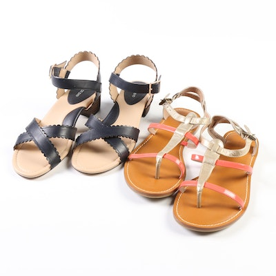 Lands' End Heeled Scallop Sandals and Nadia Leather T-Strap Sandals
