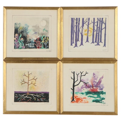 Abstract Landscape Mixed Media Watercolor Paintings of Forests, 1965