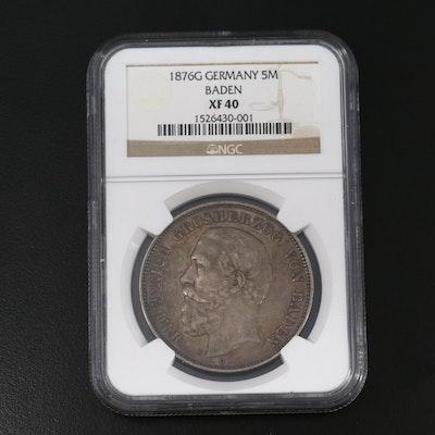 NGCGraded XF40 Baden, Germany 1876-G 5-Mark Coin, Rare Variety