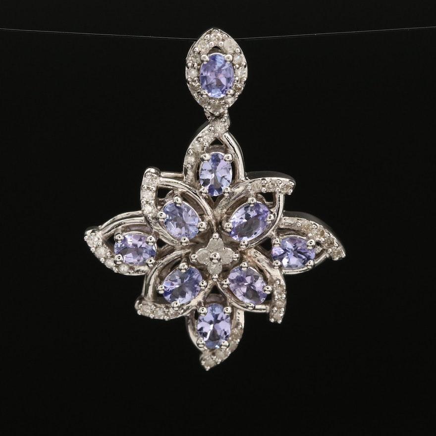 Sterling Silver Tanzanite and Diamond Pendant