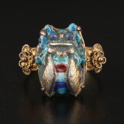 Antique Chinese Enamel Cicada Ring