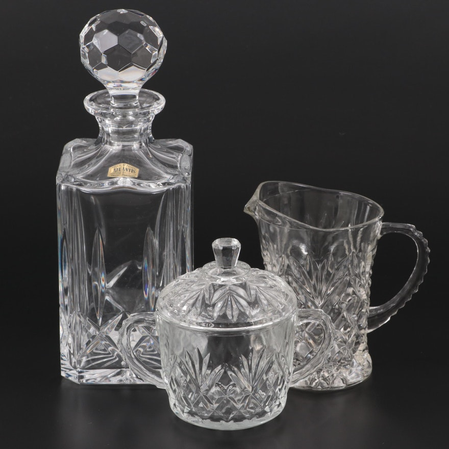 """Block """"Olympic"""" Crystal Decanter with Pressed Glass Creamer and Sugar"""