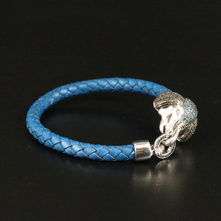Sterling Diamond Elephant Bracelet