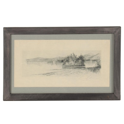 Etching of Seaside Inlet, Mid to Late 20th Century