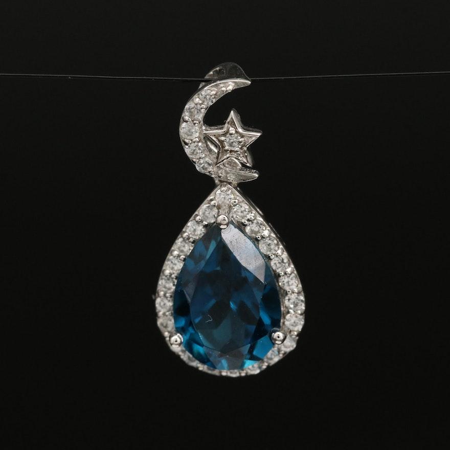 Eva LaRue Sterling, Zircon and London Blue Topaz Celestial Drop Pendant