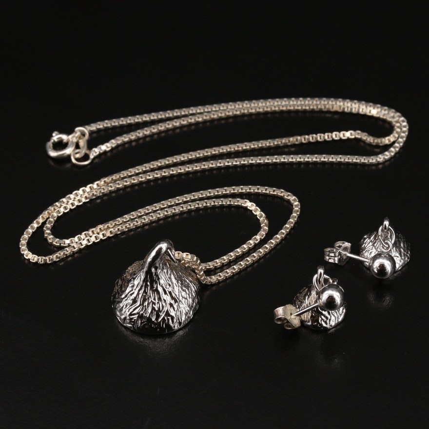 Sterling Silver Chocolate Morsel Themed Jewelry Set