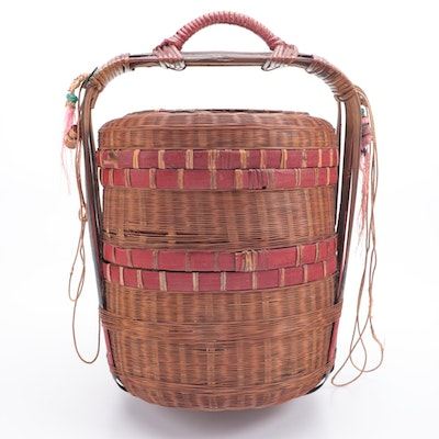 Japanese Bamboo and Rattan Two-Tier Wedding Basket