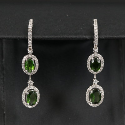 Sterling Diopside and Zircon Drop and Stud Earrings
