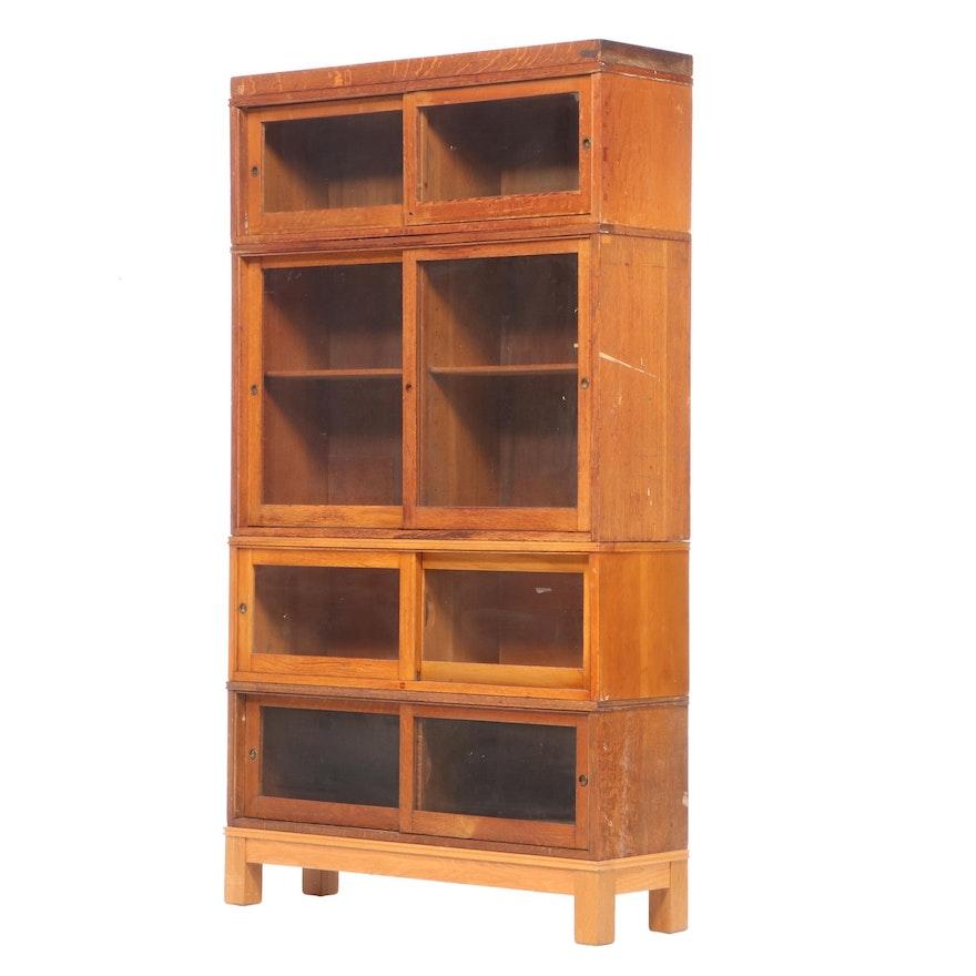 American Oak Four-Stack Sliding Door Bookcase, Mid-20th Century