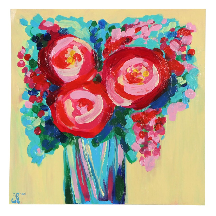 Elena Ray Acrylic Painting of Abstract Flowers, 2021