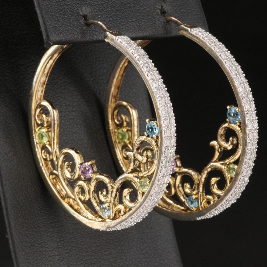 Sterling Silver Diamond and Gemstone Scrollwork Hoop Earrings