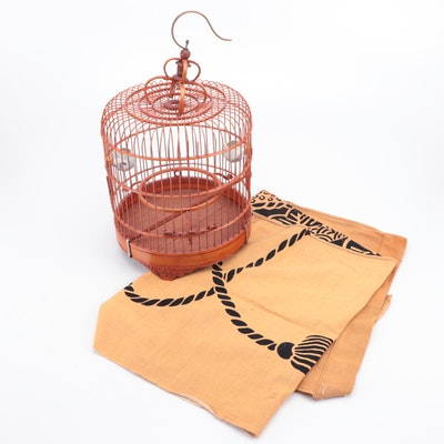 Japanese Bentwood and Bamboo Bird Cage with Porcelain Water Cups and Noren