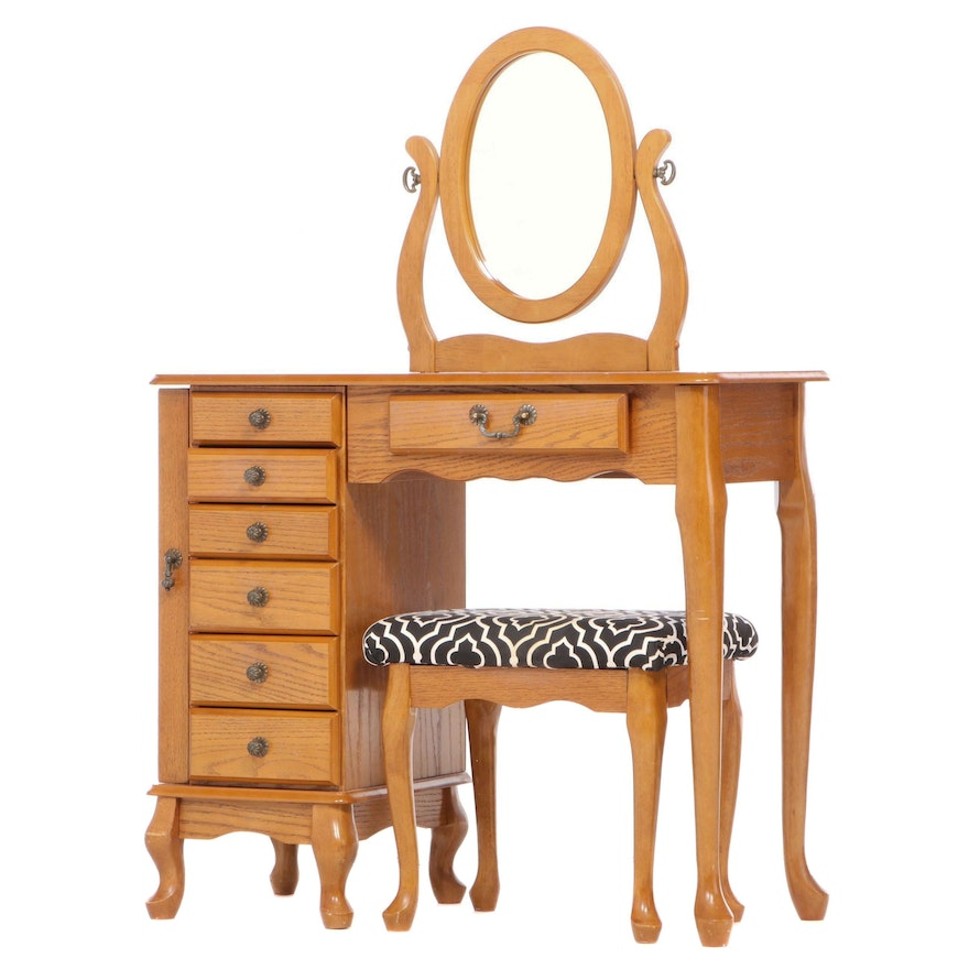 Powell Queen Anne Style Oak Vanity Table and Stool, Late 20th Century