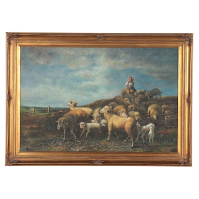 Pastoral Landscape Oil Painting of Shepard, Late 20th Century