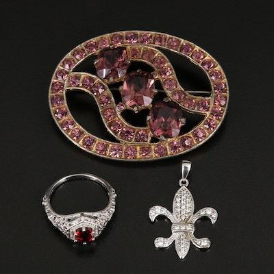 Sterling Rhinestone Oval Brooch, Fleur-de-lis Pendant and Openwork Ring