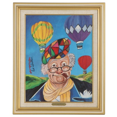 """Red Skelton Embellished Offset Lithograph """"Up and Away,"""" 1993"""