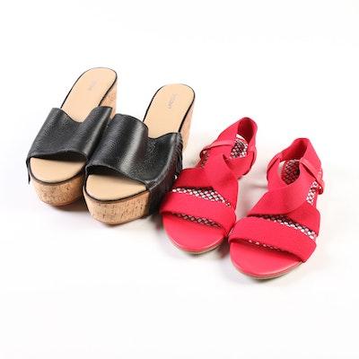 Lands' End Marissa Sandals and Fringe Wedge Slide Sandals