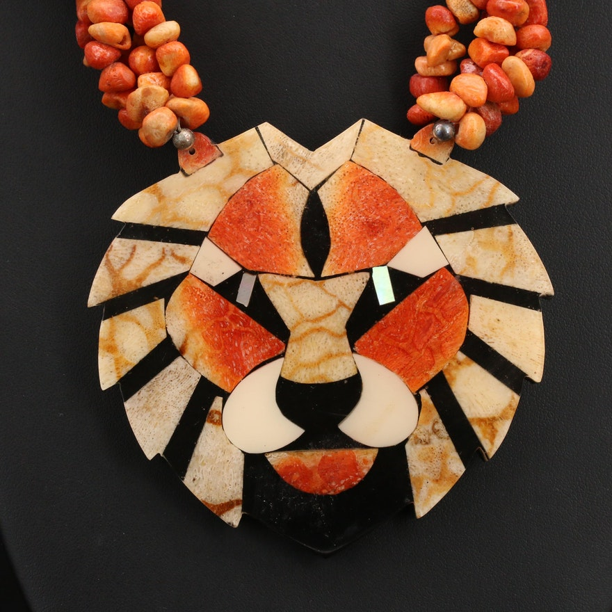 Beaded Coral and Resin Torsade Necklace with Lion Pendant