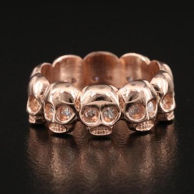 14K Rose Gold Diamond Skull Eternity Band