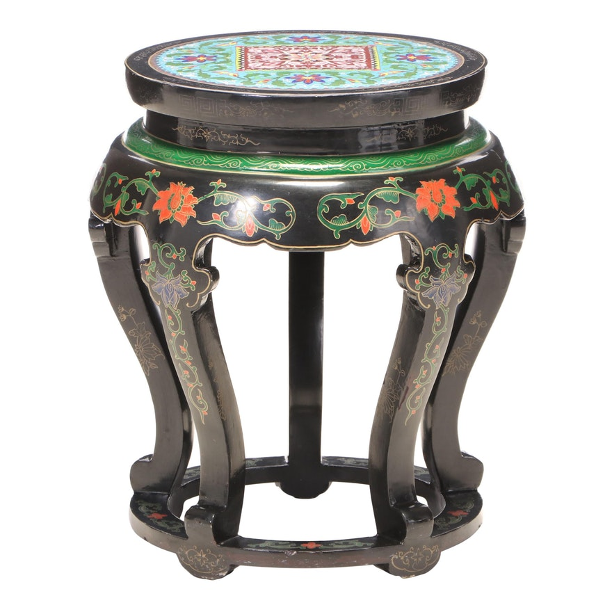 Jinlong Black-Lacquered, Polychrome-Decorated, and Enamel Top Stand