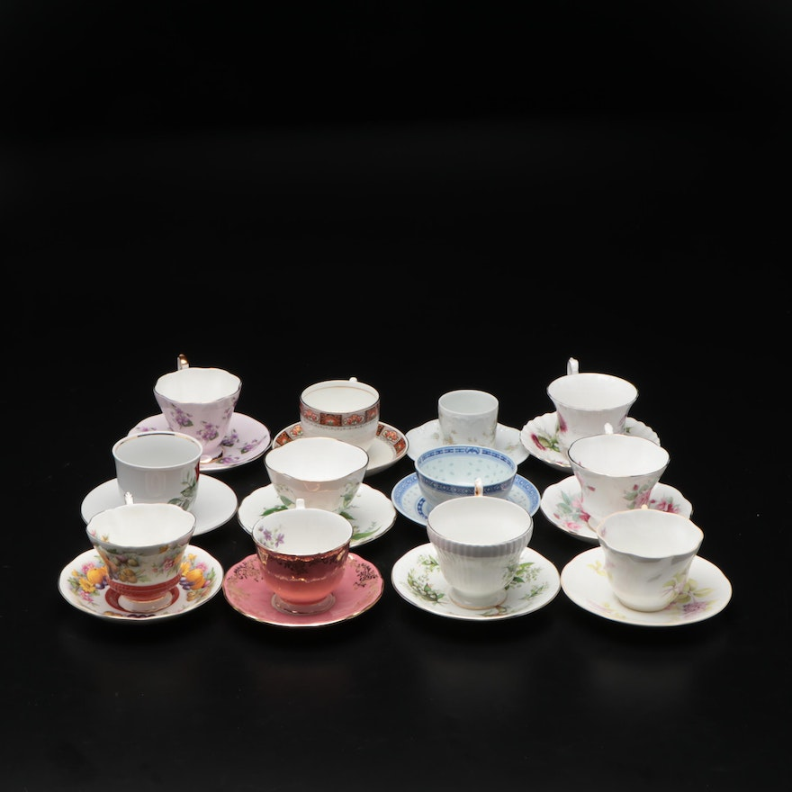 Royal Standard and Other Fine Bone China Teacups and Saucers