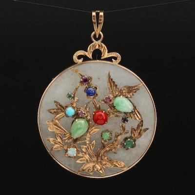 "14K Jadeite and Gemstone ""Good Fortune"" Pendant with Bird and Branch Design"