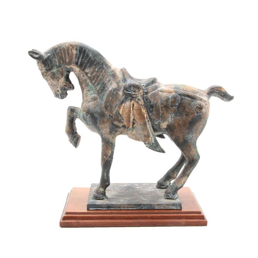 Chinese Cast Iron Tang Dynasty Style Horse Statuette