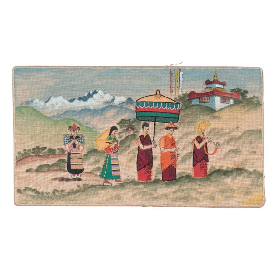 Folk Art Mixed Media Panel of Buddhist Monk Pilgrimage, Mid-20th Century