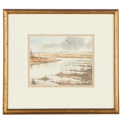 Jerry L. Gadd Landscape Watercolor Painting of Natural Marsh, Late 20th Century