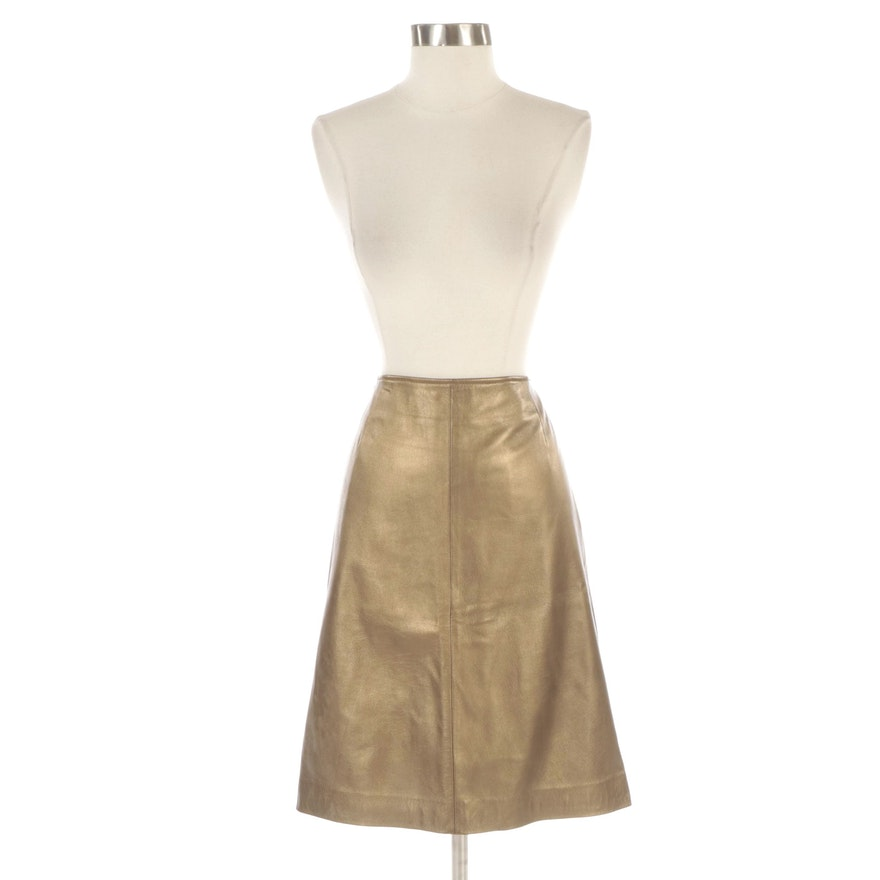 Dana Buchman Metallic Gold Lambskin Leather Skirt
